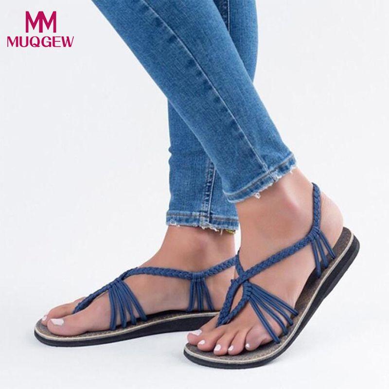 31596460 Compre 2018 Nuevos Zapatos De Moda Planos Sandalias De Mujer Señoras  Zapatillas De Verano Atractivas De Nylon Cuerda Beach Flats Slip On  Sandalias De Diseño ...
