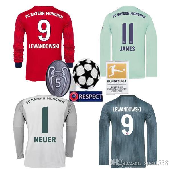 2018 Top Tailandia Bayern Munich LEWANDOWSKI La Tercera Camiseta De Fútbol  De Manga Larga 18 19 Bayern Goalie MEUER 1 Camiseta De Fútbol Sleevejersey  Por ... c8893bb1b3a0f