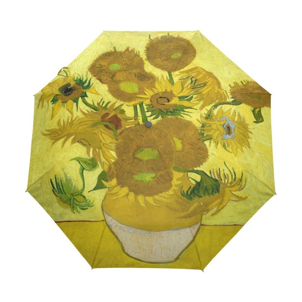 861cf4538733 Famous Drawing Sunflowers 1890 Oil Painting Umbrella Foldable Women Rain  Umbrella Automatic Windproof Rainy Umbrellas for Child