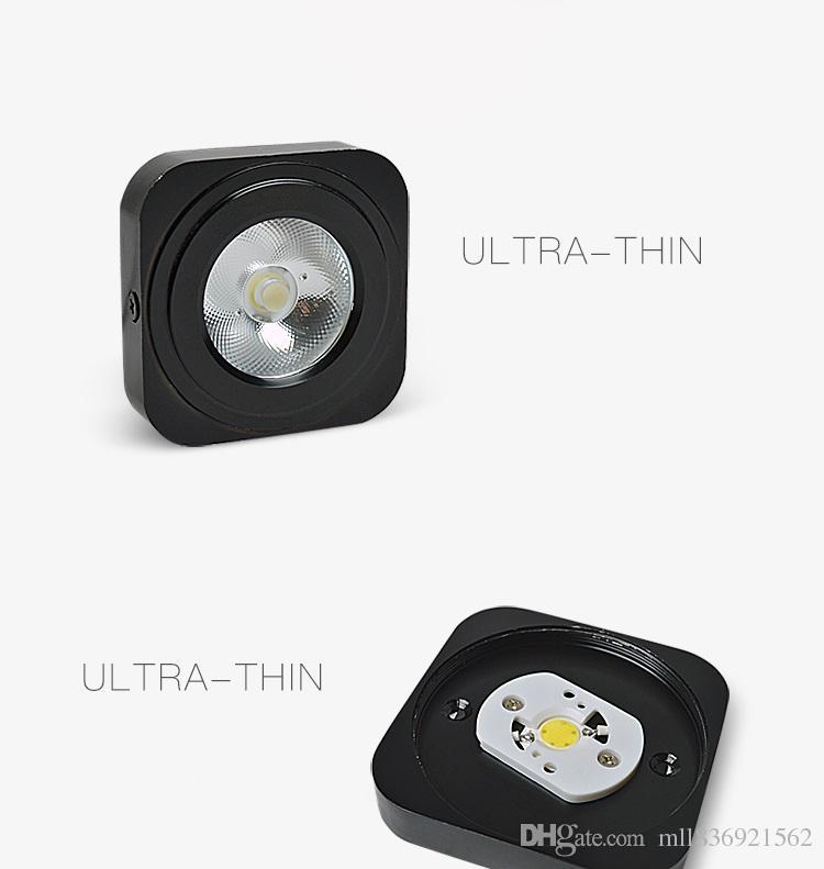 3W 5W ultradünner quadratischer freier Antrieb PFEILER führte Instrumententafel-Licht-Oberfläche angebrachte Downlight-Beleuchtung geführte Decke unten 220V Schwarz / Weiß