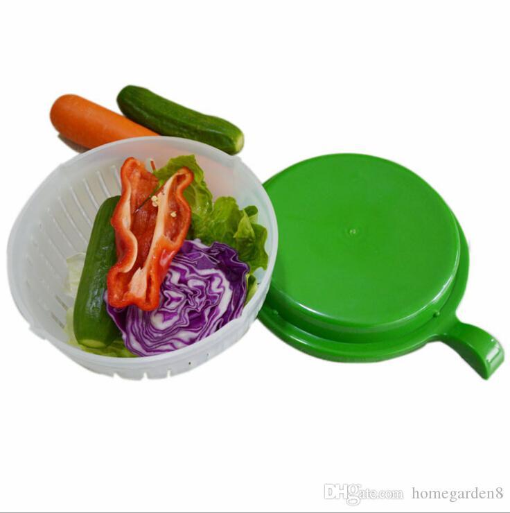 Nuevo 60 segundos Ensalada para hacer un tazón corte frutas vegetales cortador tazón Herramientas de cocina creativas grandes y grandes de plástico juego de mezclado adaptador
