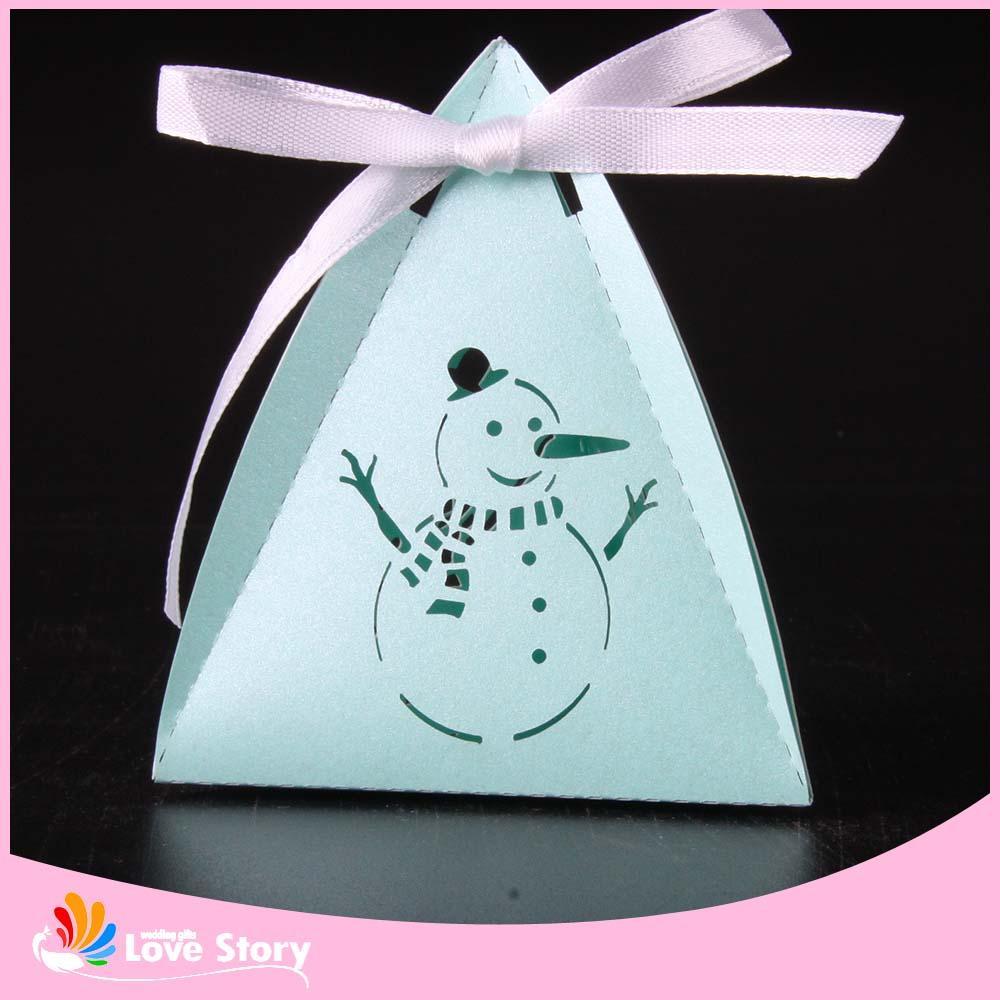 크리스마스 눈 남자 레이저 컷 사탕 상자 선물 상자 아기 샤워 어린이 파티 이벤트 및 파티 용품 파티 호의