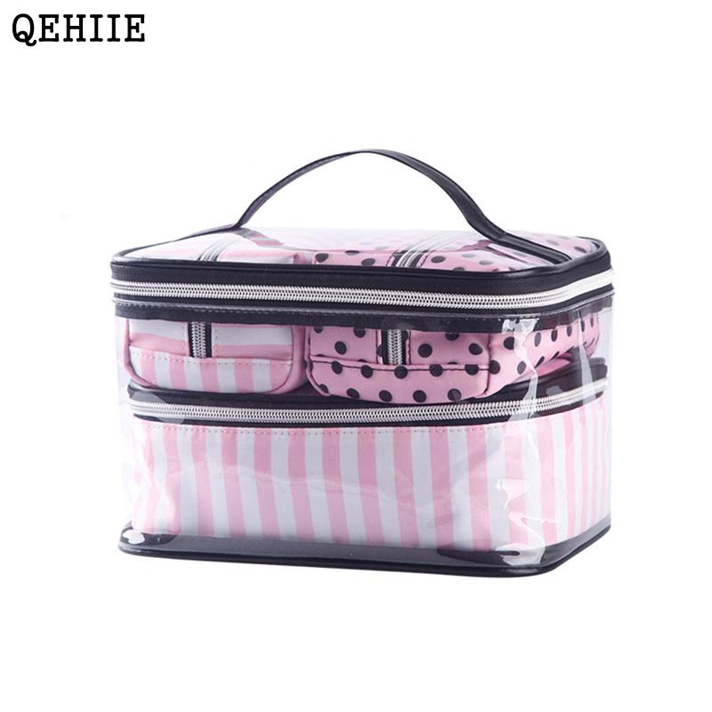 05ab662ecf5c4 New Korean Version 4 Pcs Transparent PVC Cosmetic Bag Women Pink Travel  Cosmetic Bag Organizer Beauty Makeup bags Free Shipping