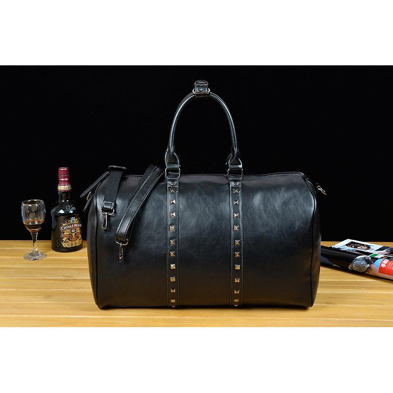 ee1193e0f559 Vintage Pu Leather Men Travel Bags Carry on Luggage Bags Men Rivet ...