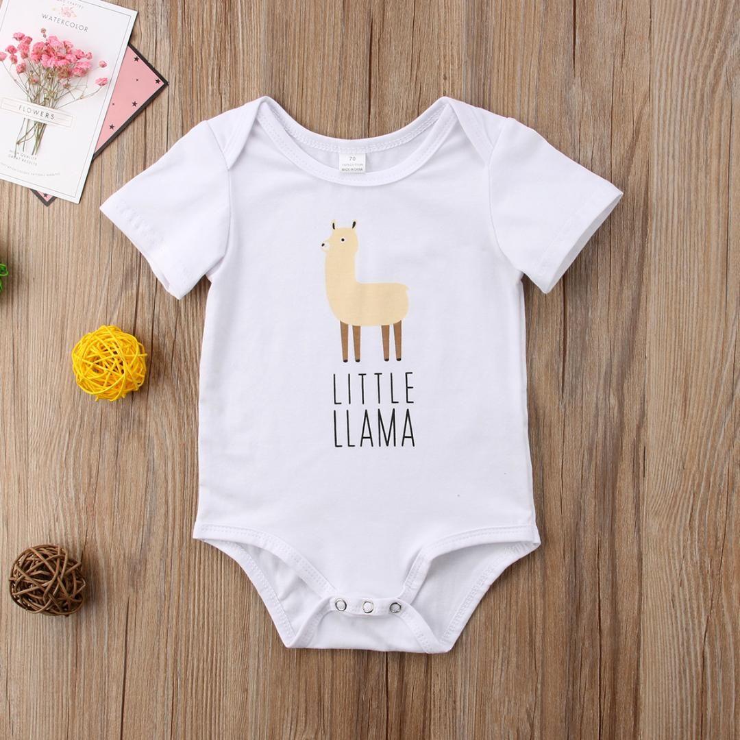 f6610cbd2faa 2019 Newborn Kids Boy Girl Animal Printing Short Sleeve Baby Girl ...