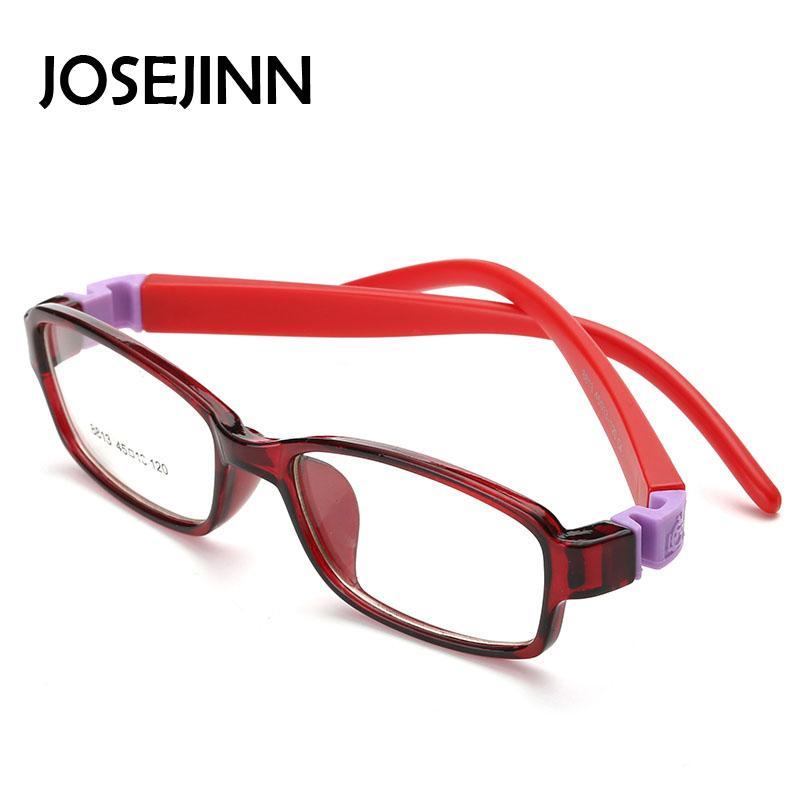 497df7076 JOSEJINN Bendable quadrado Luz Criança Óculos de armação crianças armações  de óculos Flexível TR lentes ópticas de borracha Sem Parafuso luz Segura