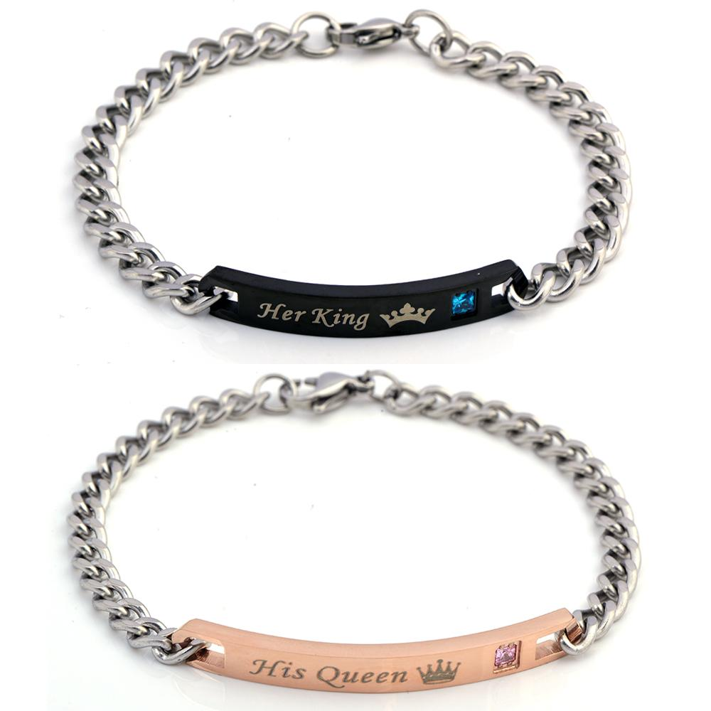 QIYIGE King Queen Bracelet Stainless Steel Crytal Crown Charm Bracelets His Queen Her King For Women Men Jewelry