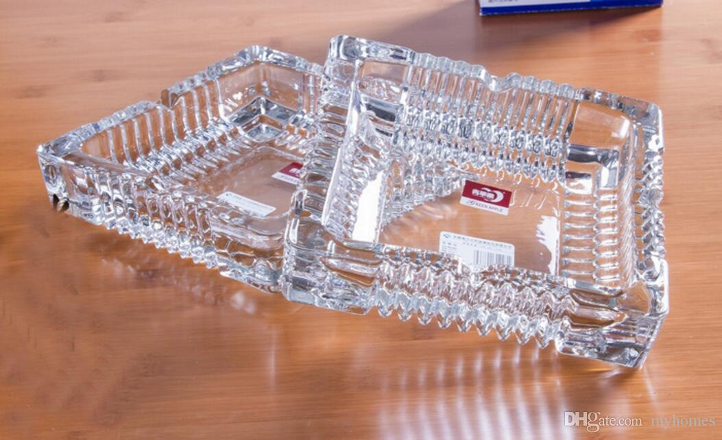 Square Style Crystal Ashtrays Glass living Room HGotel Office Ashtray Three size Portable House Smoke Creative For