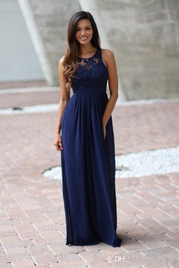 2017 Ülke Kraliyet Mavi Jewel Boyun Dantel Aplike Nedime Elbiseler Kolsuz Backless Uzun Uzunluk Nedime Elbisesi Düğün için