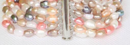 Véritable Baroque 6row blanc rose noir violet perles bracelet aimant fermoir
