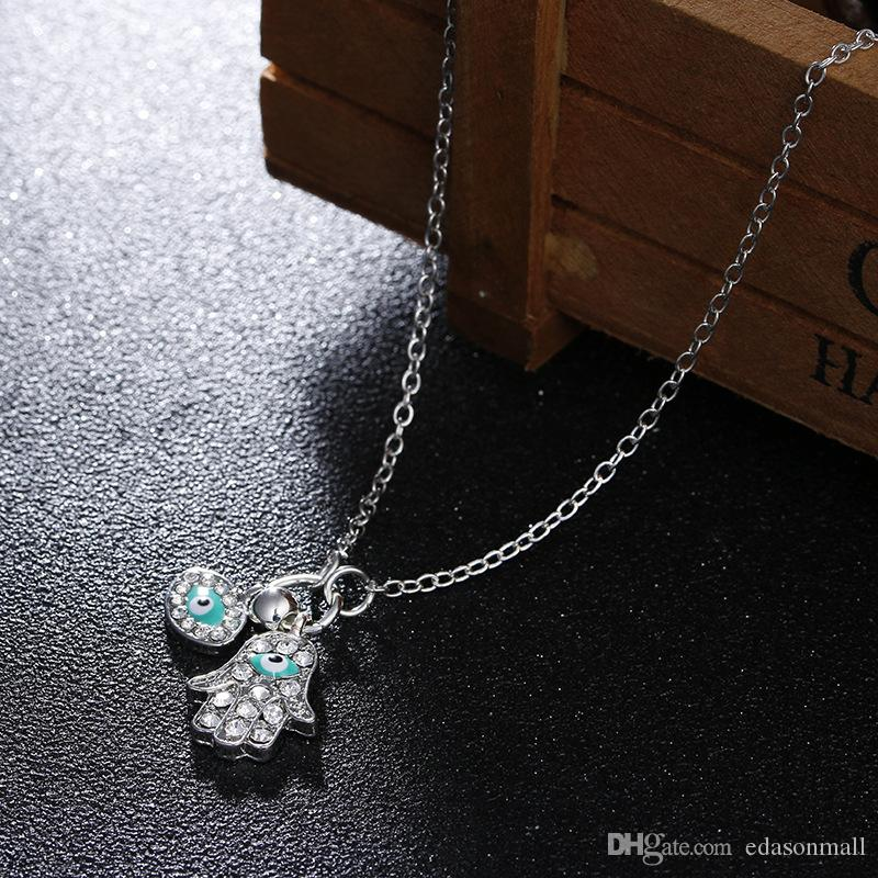 2018 New Jewelry Silver Womens Evil Eye Hamsa Blue White Rhinestone Pendant Necklace Christmas Gift G382S