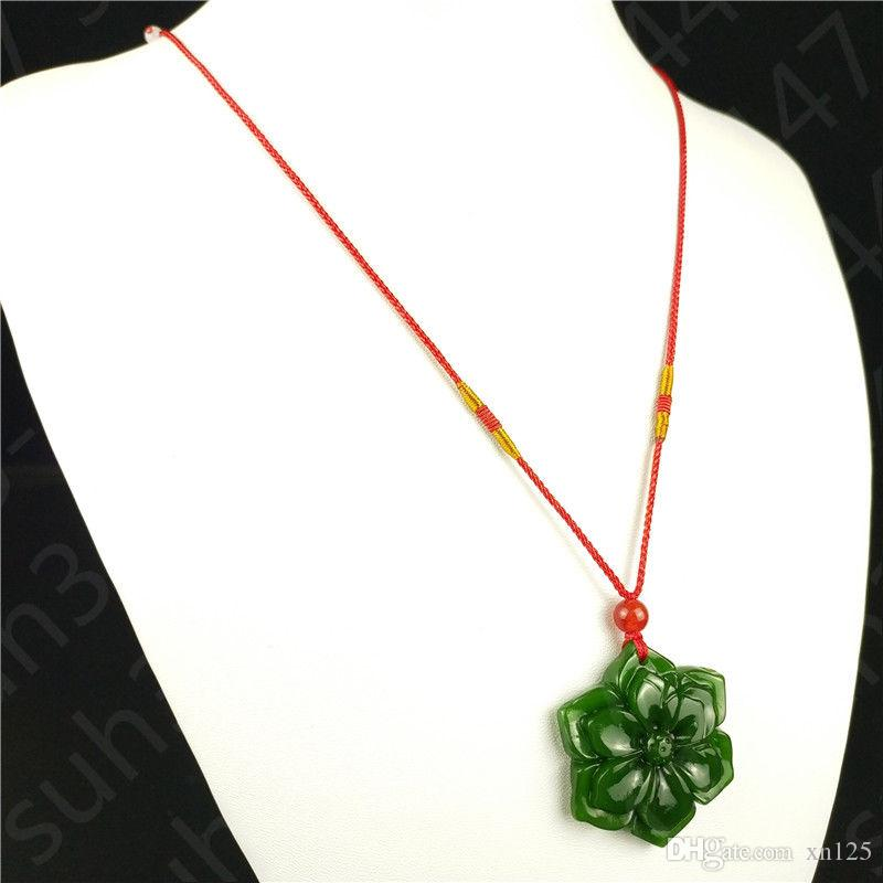 Chinese Green Jade Hexagonal Flower Pendant Necklace Fashion Charm Jewellery