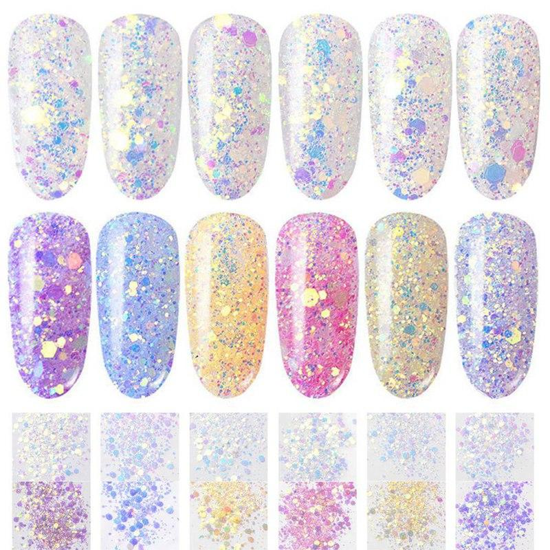 Nails Art & Werkzeuge 1 Box Aurora Einhorn Nagel Pailletten Ultra-dünne Meerjungfrau Hexagon Flakes Scheibe Gemischte Glitter Pulver 3d Funkelnden Nagel Kunst Dekoration