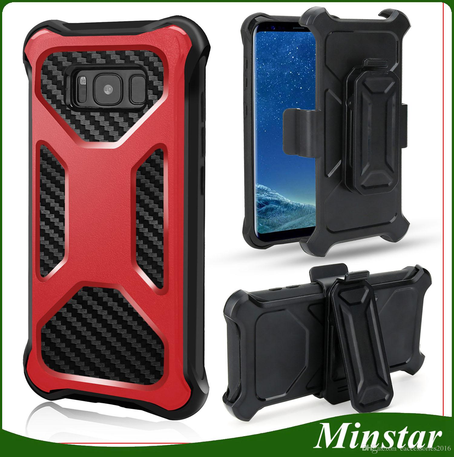 For IPhone 8 Plus Iphone X 3 in 1 Armor Defender Phone Cover Slap Belt Clip LG V30 Moto E4 Moto E5 bo Holster Fibber Carbin Hybird Case Iphone X Armore
