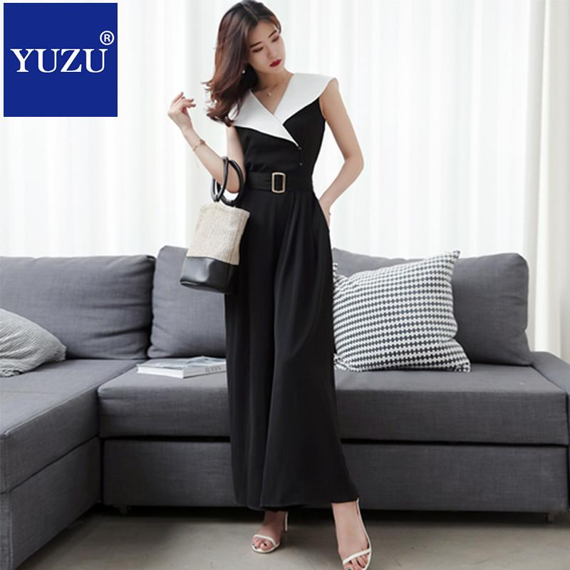 a382358094 2019 Rompers Womens Jumpsuit With Belt Office Style Black And White  Patchwork Overalls Summer Spring Jumpsuit Wide Pant Clothing From Lucycloth