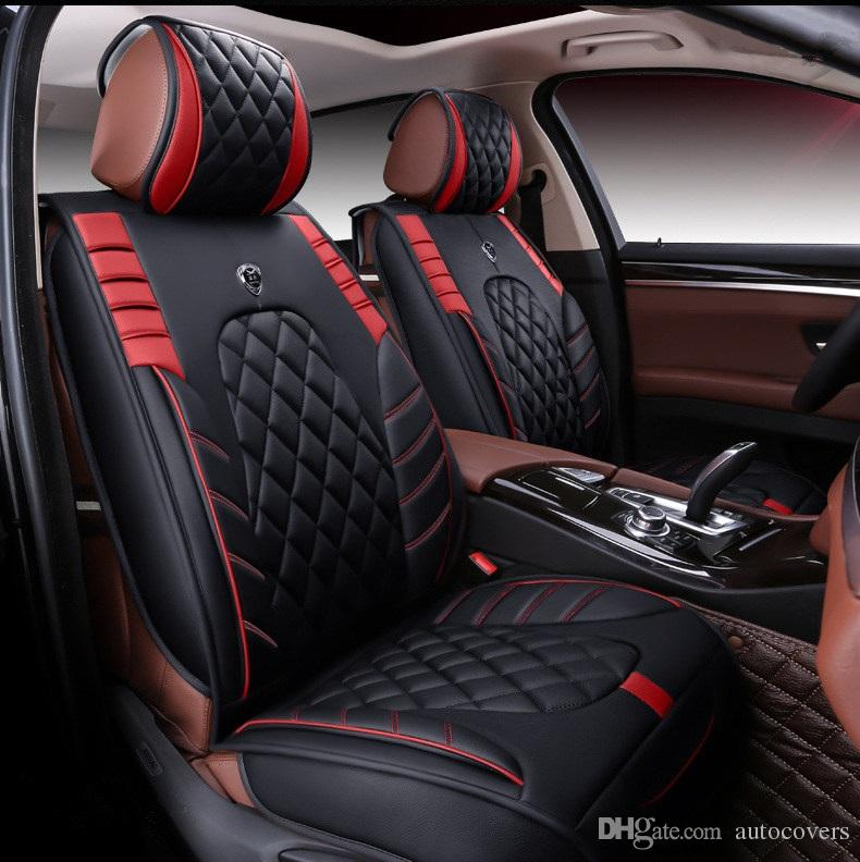 Universal Fit Seat Cover Set For Five Car Seats Sedan Full Surround Design Durable Waterproof PU Leather Covers SUV