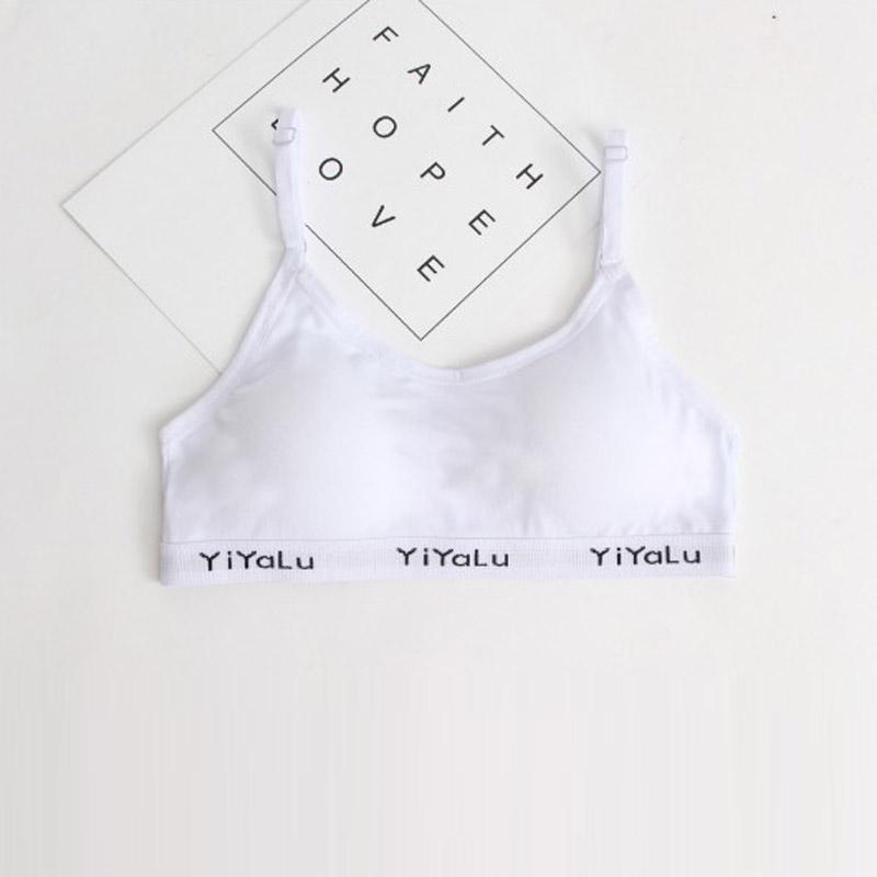 Adolescente Sous-Vêtements Couleur Unie Coton Soutiens-Gorge Sans Fil Respirant Soutien-Gorge de Formation pour Filles Enfant Soutien-Gorge Rembourré Brassière