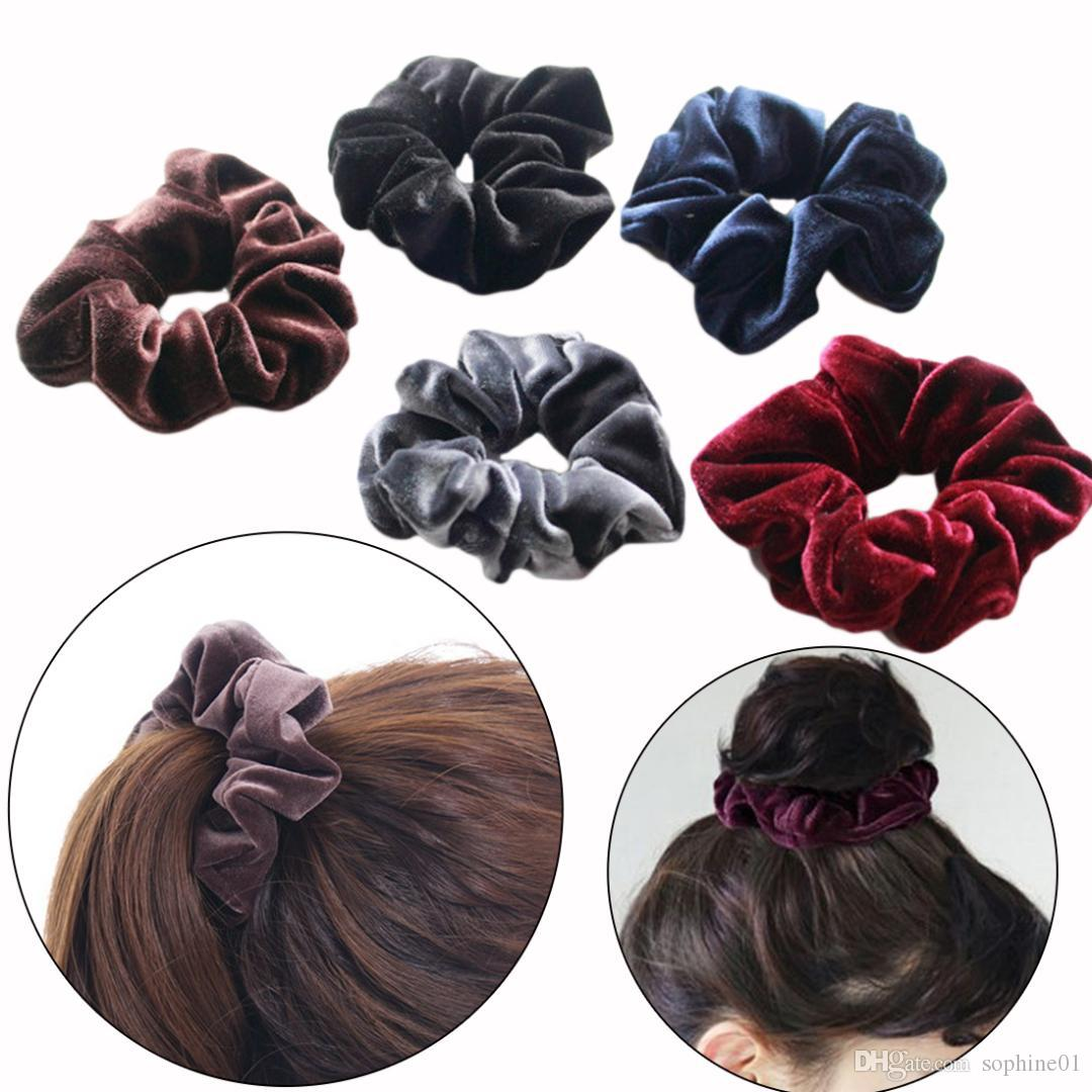 Hot Fashion Velvet Elastic Hair Ropes Scrunchies Girls  No Crease Hair Ties  Women Hairbands Headdress Accessories Wedding Hair Accessories Uk Vintage  ... 63c7855a64a