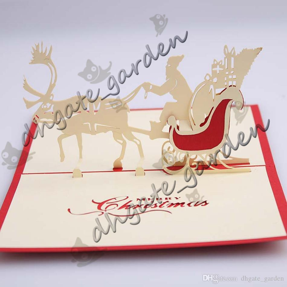 Handmade Christmas Card 3D Pop Up Greeting Card Christmas Bell Party Invitations Paper Card Personalized Keepsakes Postcards