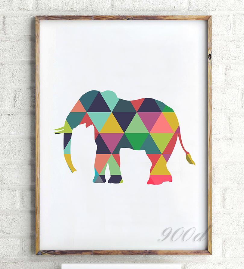 2018 Art Print Poster Colorful Geometric Elephant Canvas Art Print ...