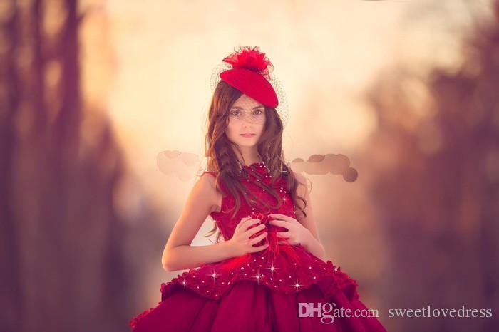 2018 Vintage Vestido de Baile Meninas Vestidos Pageant Jewel Neck Sem Mangas Appliqued Frisado Flores Até O Chão Espartilho Psrty Vestido Para A Menina