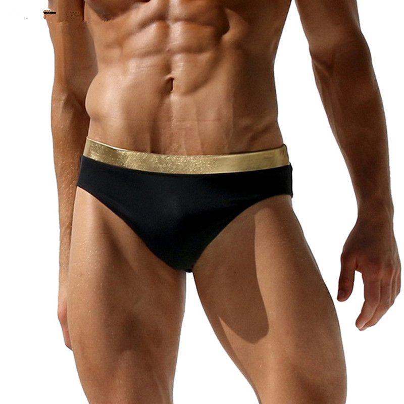 338e14bc30 Metal Feeling Men's Swimsuits Sexy Men Swimwear Swimming Pool Board Beach  Short Briefs Hot Men Swim Trunk Sunga