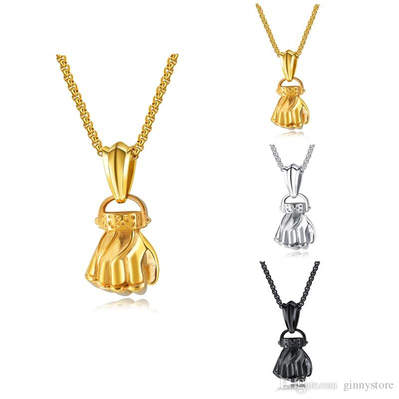Wholesale 2018 new men pendant necklaces fitness fashion stainless wholesale 2018 new men pendant necklaces fitness fashion stainless steel workout jewelry gold plated fist charm pendants accessories gift for men long aloadofball Choice Image