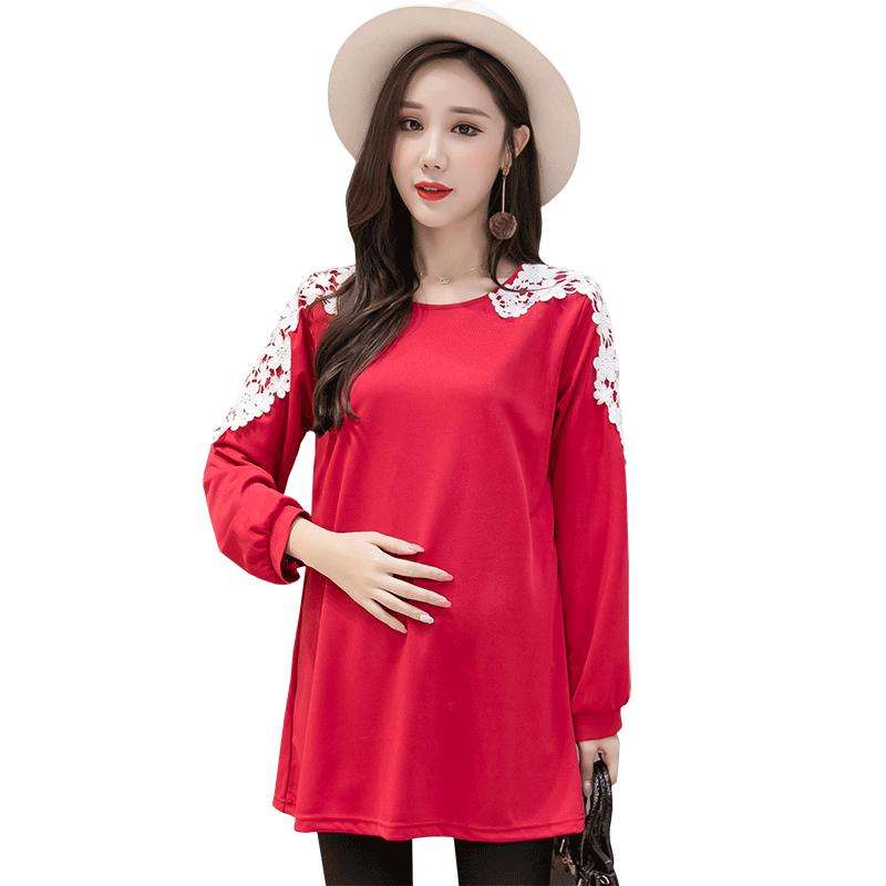 0854825f60f 2019 Autumn Korean Fashion Maternity Shirts With Lace Long Sleeve Loose  Tops Clothes For Pregnant Women Pregnancy Tunic From Mingway245