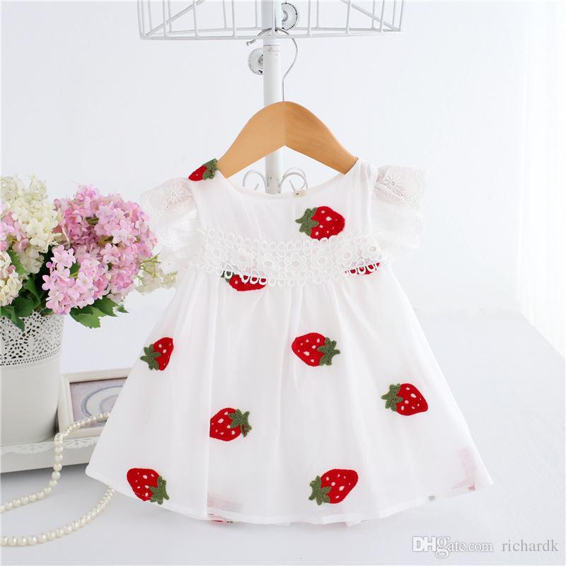 Marka Çocuk giyim Yaz Bebek Elbise 2018 Yeni Prenses Gül Elbise Bebek Kız Parti Elbise 6-30 ay