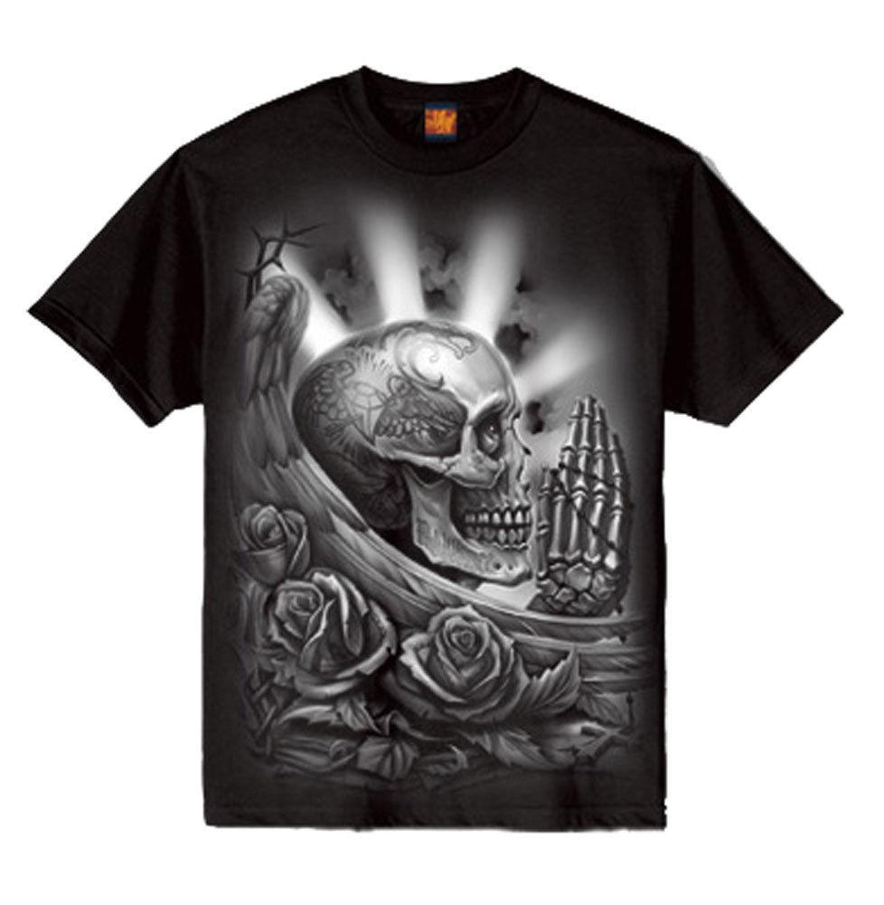 Og Abel Ogabel Mens Pray Skull T Shirt Black Art Tattoo Ink Skull