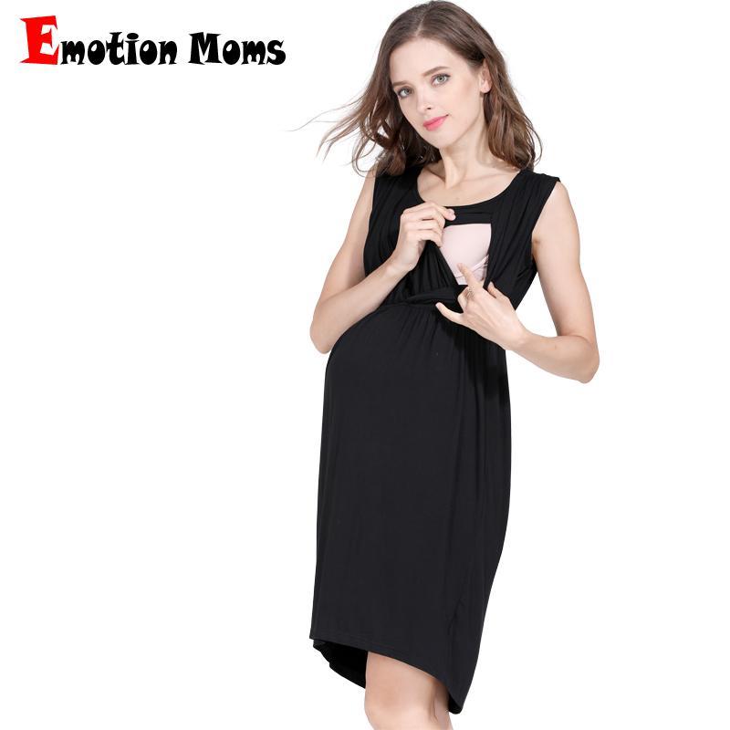 1735d3c4ea0ae Emotion Moms Maternity Nursing Breastfeeding Dress for Pregnant Women  Pregnancy Women's dress Sleeveless Mother Home Clothes