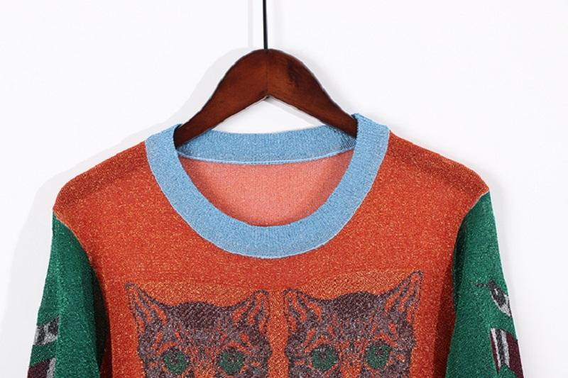 2018 Autumn Winter Christmas Women Knitted Sweaters Pullovers Runway Design Ladys Snake Cat Jacquard Vintage Thin Jumper Clothes