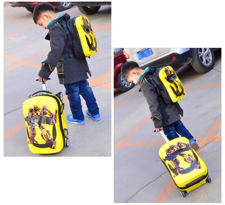 8ad4ca844 2PC / Lot Trolley + mochila Niños Equipaje Niño Maleta Niño Niña Princesa  Cat PC Trolley Case Boarding Trunk Carry