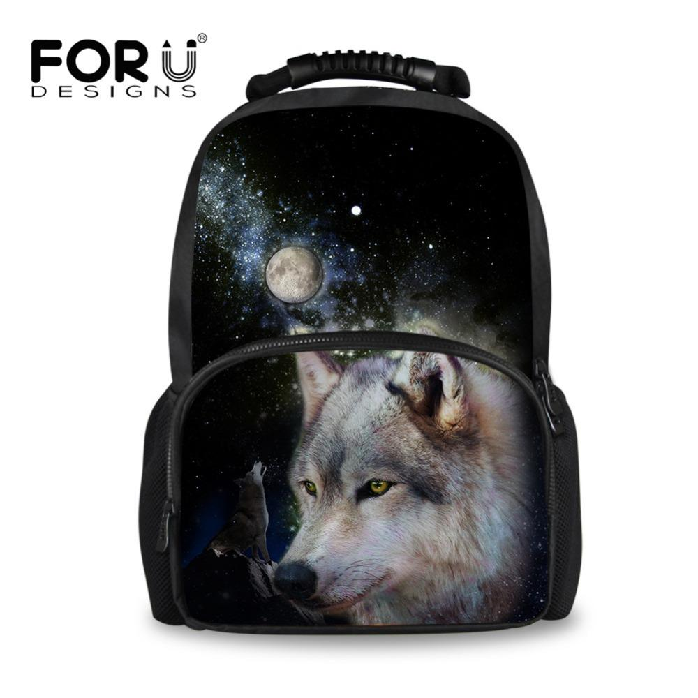... for whole family 5839e d02bc FORUDESIGNS Teenager School Bags For Boy  3D Wolf Printing Primary School ... d3d6f1843809c