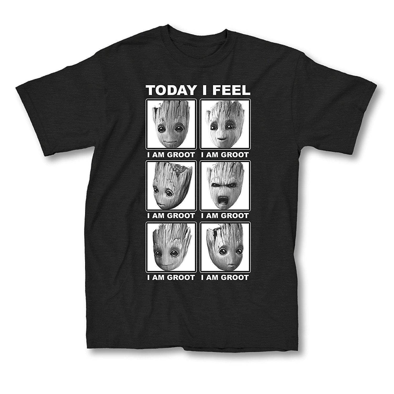 32304dcf9b Compre Moda O Pescoço Marvel Guardiões Da Galáxia 2 Rosto De Groot Eu Sinto  Me T Shirt De Manga Curta Camisas De Verão T Engraçado Solto Camisa Para  Homens ...