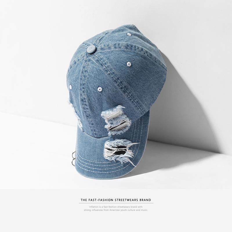 Compre INFLACIÓN Agujeros De Mezclilla Dañados Casuales Gorras De Béisbol  Moda Streetwear Para Hombre Sombrero Ajustable Marca Verano Tapas Snapback  ... b69eaaed945