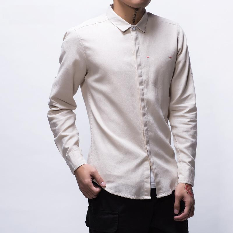 fa53b5f6211 Compre Algodón Camisas De Lino Hombres Manga Completa Transpirable Sólido  Verano Camisa De Manga Larga Elegante Slim Fit Camisa De Vestir Hombre  Casual TS ...