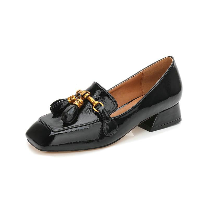 f8e0f3365dd Shoes Wholesale OL Office Women Shoes Ladies Patent Leather Shoe Woman  Square Head High Heels Tassel Loafers Zapatos Mujer Tacon Boat Shoes For  Men Navy ...