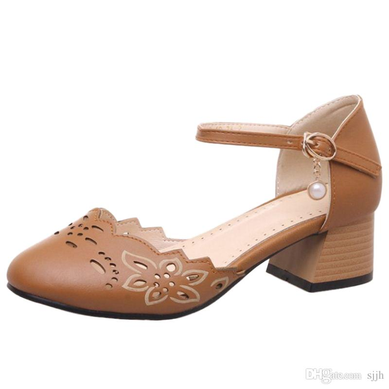 SJJH 2018 Mary Jean Shoes with Chunky Heel and Round Toe Elegant Working Chic Sandals for Fashion Woman with Large Size Available A206