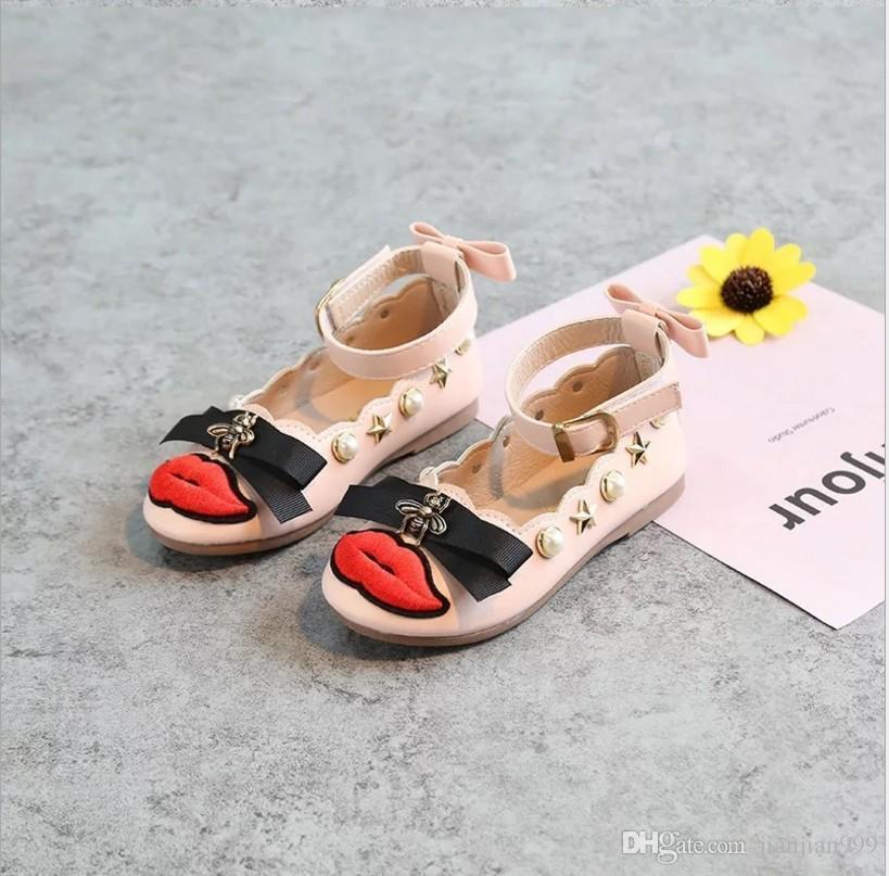8485eda047d8f Acheter Version Coréenne Des Chaussures Plates De Printemps Et D automne  Princesse Chaussures Pour Enfants Arc Bas Bouche Bouche Filles Filles Doux  Fond ...