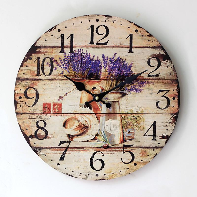d1e9b67645c Compre Grande Decorativo Relógio De Parede Pintado Lavanda Lavanda Relógio  De Madeira Nostálgico Relógio De Decoração Para Casa De Blithenice