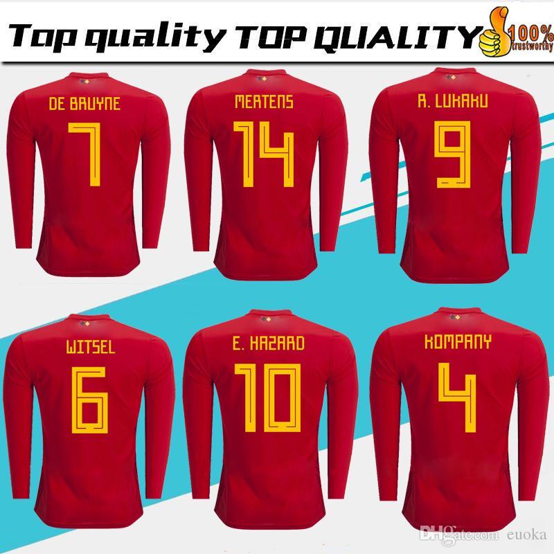748ea9eadc6 2018 World Cup Belgium Long Sleeve Soccer Jersey Home Red LUKAKU ...