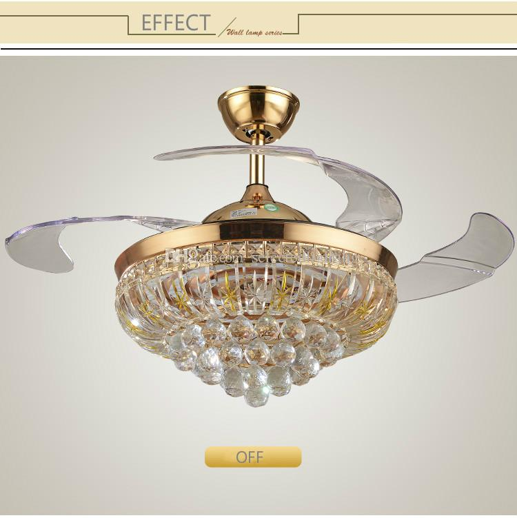 Современные потолочные вентиляторы люстра Хрустальная лампа ac110v 220 В Сид 42 дюймов потолочный вентилятор люстра Гостиная Спальня освещение