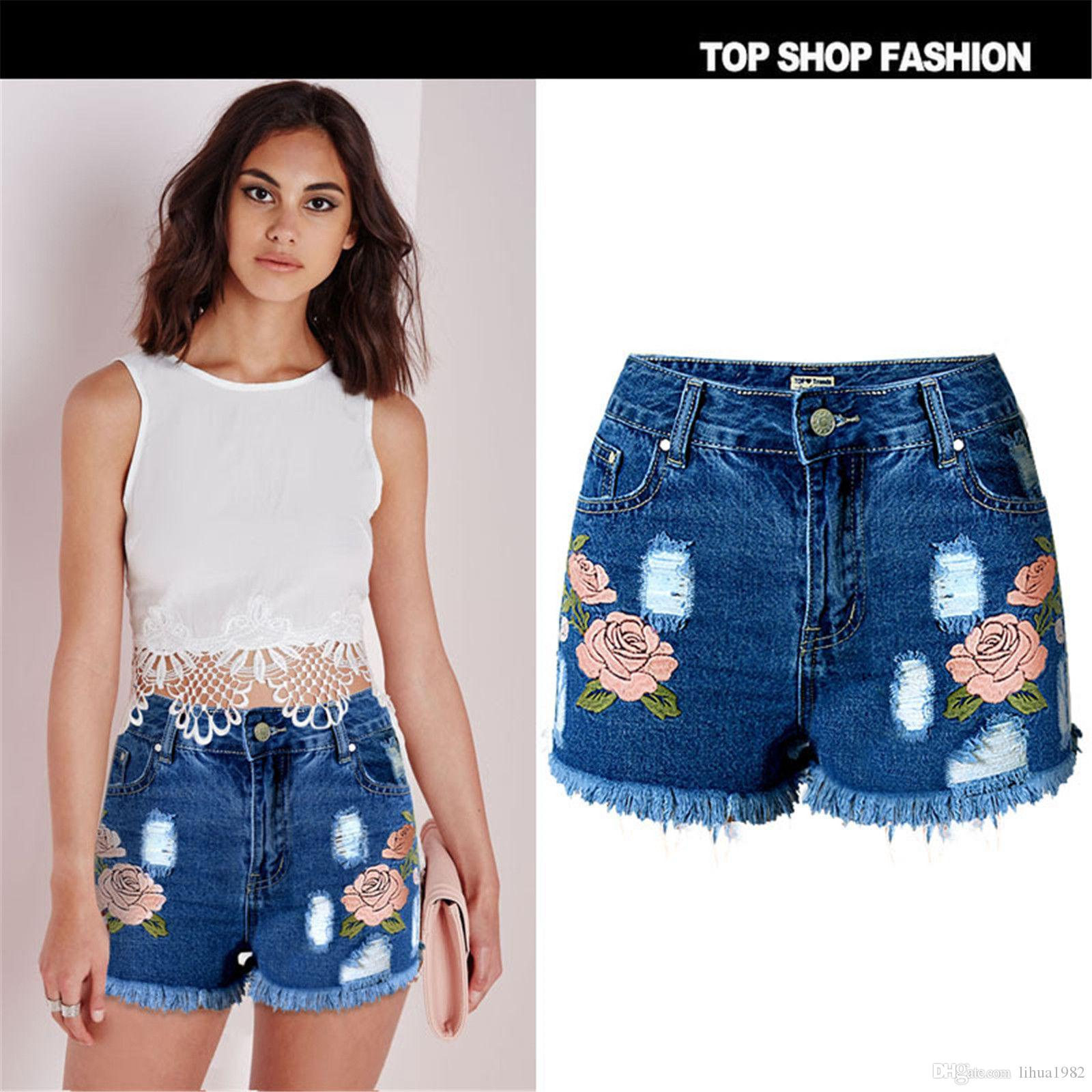 2362b53cefe 2019 Sexy Women Flower Embroidery Tassel Ripped Shorts Ladies Jeans Denim  Short Pants From Lihua1982