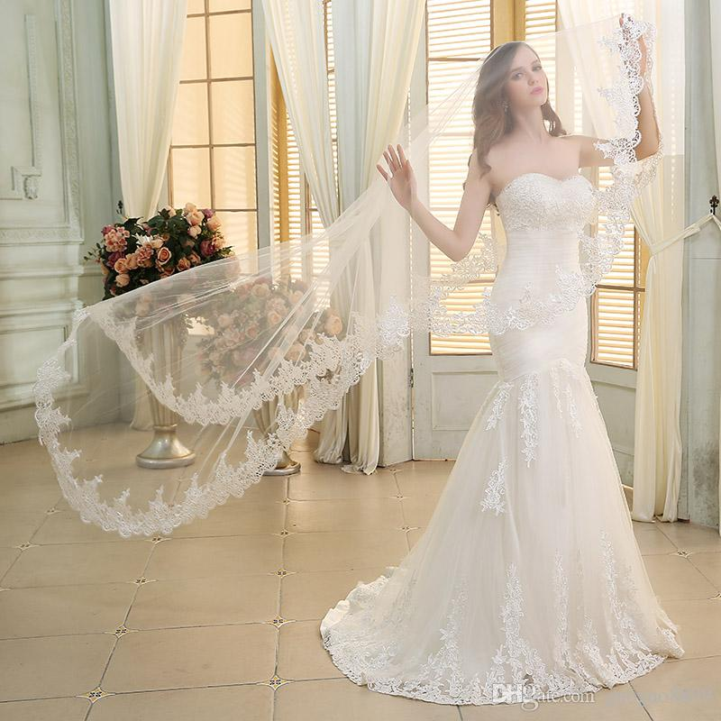 2019 New Designer Lace Mermaid Wedding Dresses With Free Veil Modest  Sweetheart Lace Up Corset Plus Size Trumpet Bridal Wedding Gowns Cheap  Beautiful ... 6b22c71819b8
