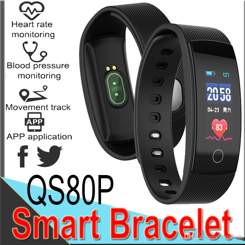 QS80 Plus Smart Bracelet Fitness Tracker Watch Band Heart Rate Monitor Waterproof Activity Pedometer Call remind Health Wristband 50 packs