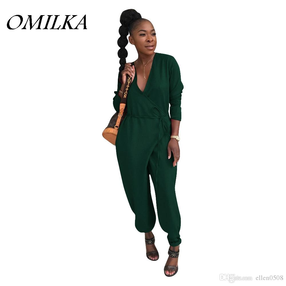 7b167d93f4a OMILKA 2018 Summer Women Long Sleeve V Neck Harem Bandage Rompers And  Jumpsuits Casual Loose Green Red Yellow Hip Hop Overalls UK 2019 From  Ellen0508