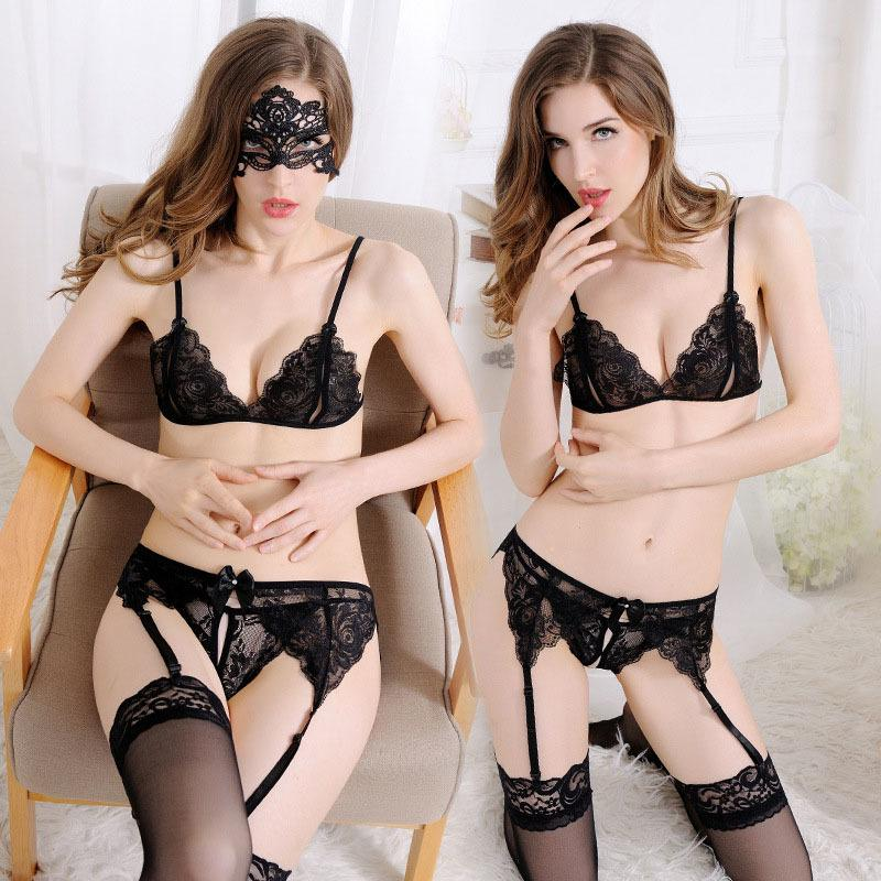 288348a593 Women Sexy Lingerie Sets Open Bra Crotch Lace Bras Bottom Sleepwear Babydoll  G String Lady Hot Erotic Lenceria Nightwear Garter Y1892810 Panties And Bra  ...