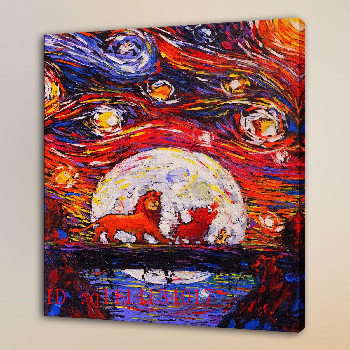 Van Gogh Lion King Simba 4 HD Canvas Prints Wall Art Oil Painting Home Decor Unframed Framed