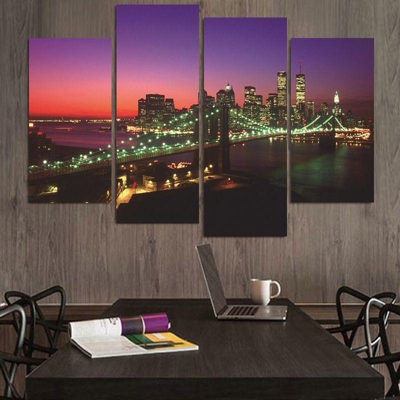 Modern Wall Painting New York Bridge Night Home Decorative Art Picture Paint on Canvas Prints Cuadros Decoracion